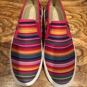 Boutique by Corkys serape slip on shoes sz 10
